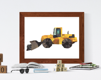 Construction Vehicle Working Poster Boys Room | Digital Download
