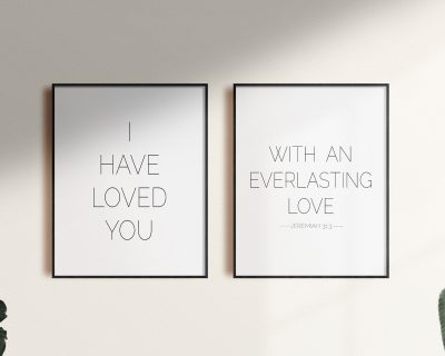 Minimalistic Love Scripture Poster | Digital Wall Art | Set of 2 Love Scripture Digital Download | Black and White | Little Kid's Room | Living Room