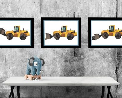 Construction Vehicle Set of 3 Posters | Boy Room | Digital Download
