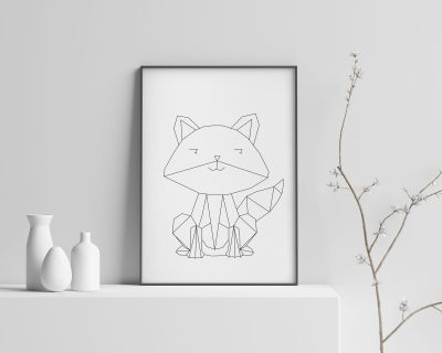 Little Fox Digital print | Nursery Fox | Minimalistic Wall Art | Geometric Fox print