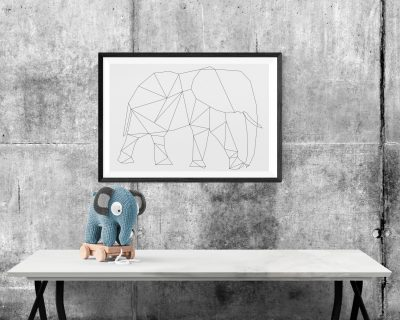 Elephant Digital Print | Minimalistic | Black and White | Geometric