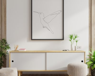Humming Bird Line Drawing | One Line Drawing | Minimalistic Digital Download | Black and White