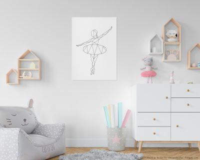 Ballet Dancer Wall Art | Minimalistic Ballet Dancer | Geometric Black and White