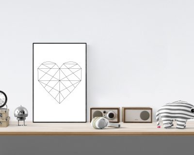 Minimalistic Heart Digital Wall Art | Black Lines | Geometric Heart