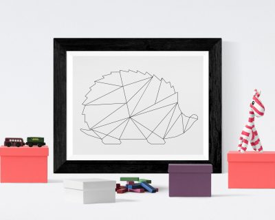 Minimalistic Hedgehog Wall Art | Digital Download | Geometric Hedgehog | Nursery | Kid's Room | Black Lines