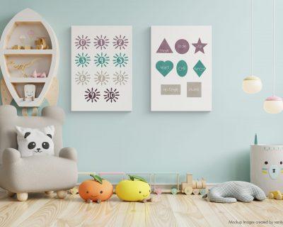 Watercolor Shapes and Numbers Set of 2 Wall Art | Digital Wall Art | Nursery | Kindergarten