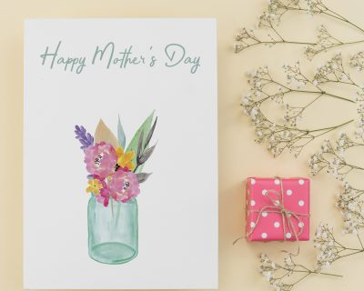 Watercolor Flower vase Printable Mother's Day Card | Printable Card | Blank Inside | Instant Download