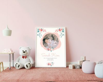 Custom Roses with Photo Birthographic for little girls | Floral Theme | Nursery Wall Art