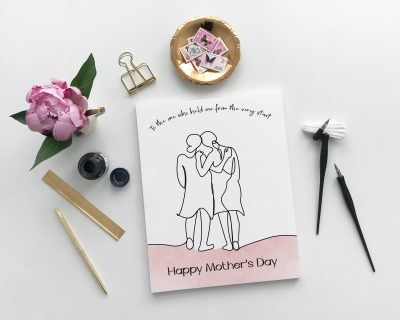 Mother & Daughter Line Drawing Mother's Day Card | Blank Inside | Instant Download