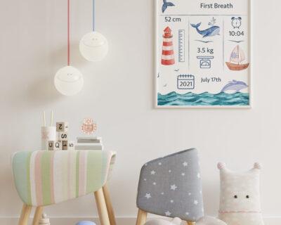 Custom Nautical Birthographic | Nursery wall art