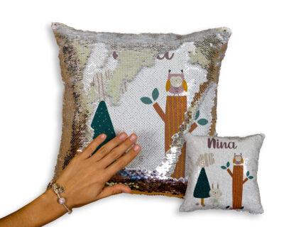 Custom Sequin Pillow | Woodlands Themed | Little One's Room