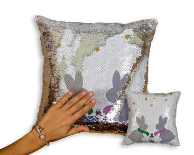Custom Bunnies Sequin Pillow | Nursery Decor | Little One's Room